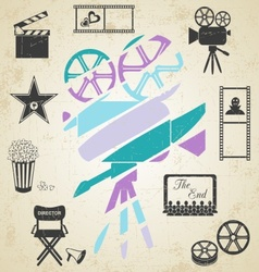 Old colorful movie camera vector
