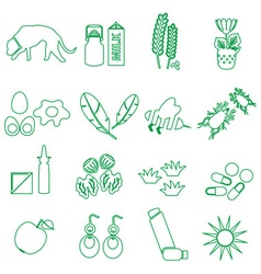Allergy and allergens green outline icons set vector