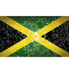 Flags jamaica with broken glass texture vector