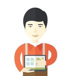 Chinese man standing with his tablet vector
