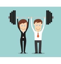 Business team holding a barbell above heads vector