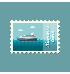 Cruise transatlantic liner ship flat stamp vector