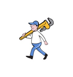 Plumber holding monkey wrench isolated cartoon vector