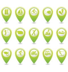 Set of 15 sport green map pointer vector