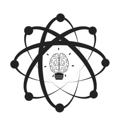 Atom with brain icon vector