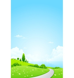 Green landscape with flowers road vector