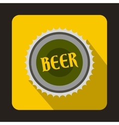 Beer bottle cap icon in flat style vector