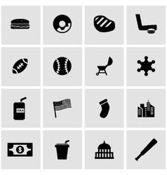 black usa icon set vector image