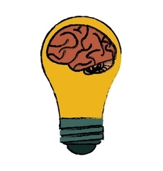 Brain idea bulb concept sketch vector