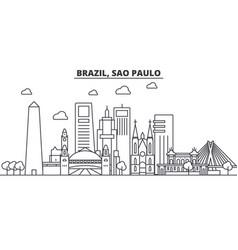 Brazil sao paulo architecture line skyline vector