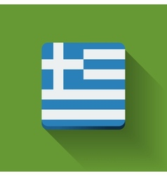 Button with flag of Greece vector image vector image