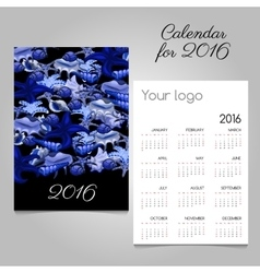 Calendar 2016 with marine lifeand space for logo vector image vector image