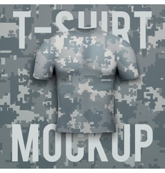 Camouflage t-shirt on background product mockup vector