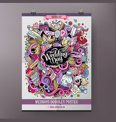 Cartoon doodles wedding poster vector
