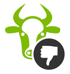 Cow thumb down flat icon vector