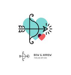 Cupid bow and arrow archery line icons wedding vector