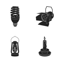 economy lamp searchlight kerosene lamp candle vector image vector image