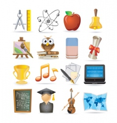 education set of icons vector image