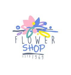 flower shop logo estd 1969 vintage badge for vector image vector image