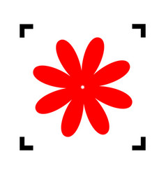 Flower sign red icon inside vector