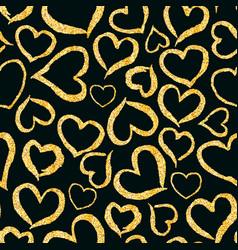 Glitter golden heart seamless background vector