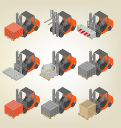 Icon forklift with cargo isometric vector