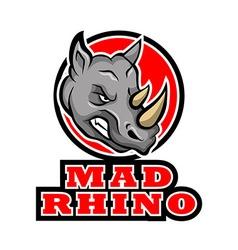 Mad rhino badge vector