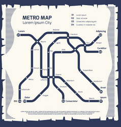 metro subway map - subway poster design vector image vector image