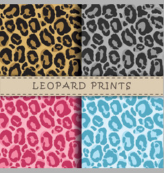 Seamless patterns set with leopard skin texture vector