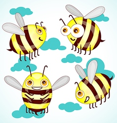 Set cartoon cute bees on sky with clouds vector