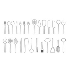 set of cutlery outlines vector image