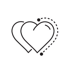 Two heart icon dots style vector