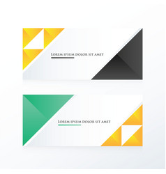 Yellow black green triangle banner vector