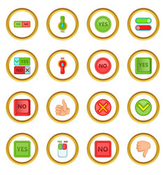 Yes no icons circle vector
