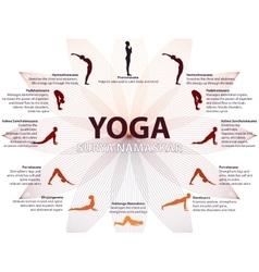 Yoga infographics surya namaskar sequence vector