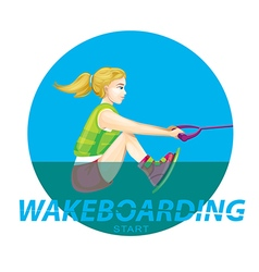 Wakeboarding start vector