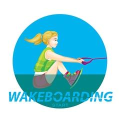 Wakeboarding start vector image