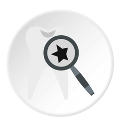 Inspection of tooth icon flat style vector