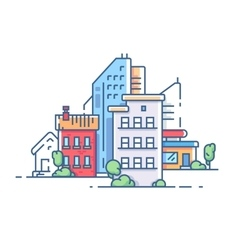 City color apartment house vector