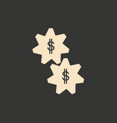 Flat in black and white gears and money vector