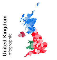 United kingdom map divided on regions vector
