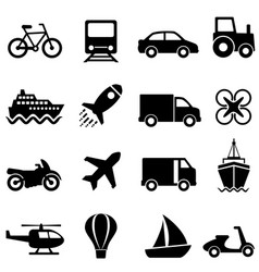 Air water and land transportation icon set vector