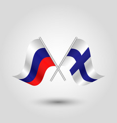 two crossed russian and finnish flags vector image