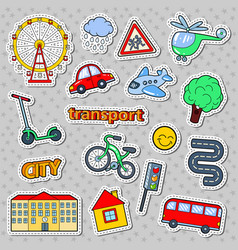 Children transport doodle with bicycle bus vector