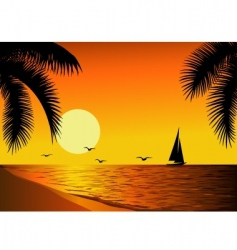 Tropical beach sunset vector