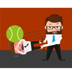 Businessman is playing tennis by bad manager vector