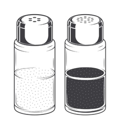 Glass salt and pepper shakers vector