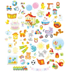 Toys animals and books vector
