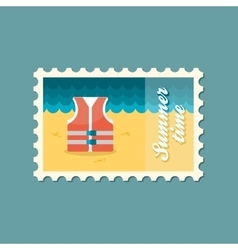 Life jacket flat stamp summertime vector