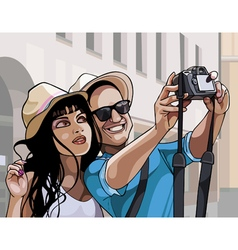 Cartoon couple tourists man and woman photographed vector